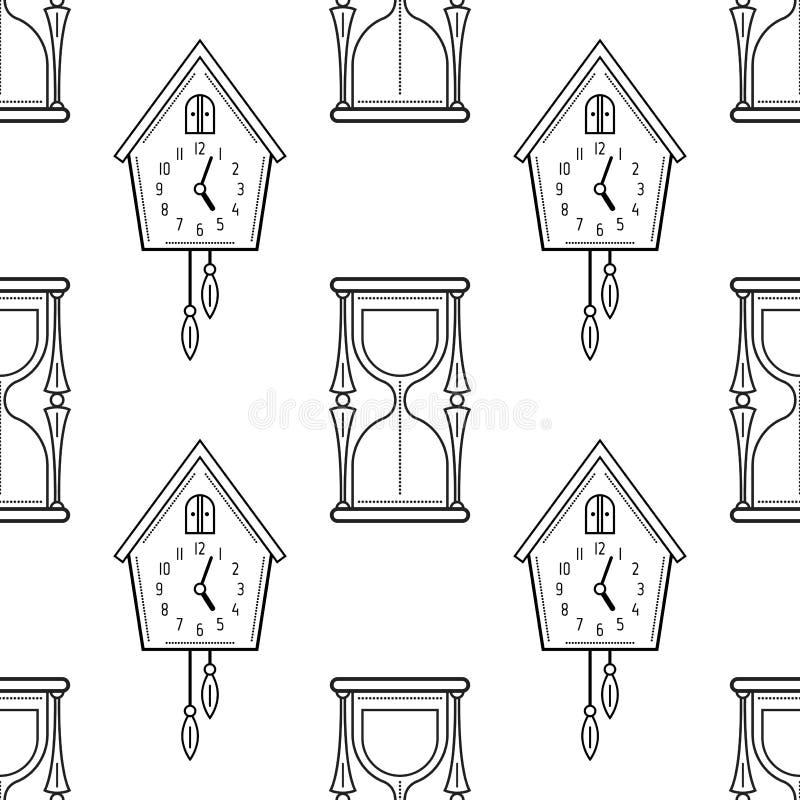Reloj De Arena Y Reloj De Cuco Modelo Inconsútil Blanco Y Negro Para ...