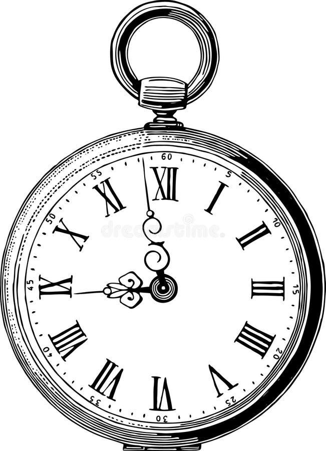 Reloj de bolsillo antiguo ilustración del vector