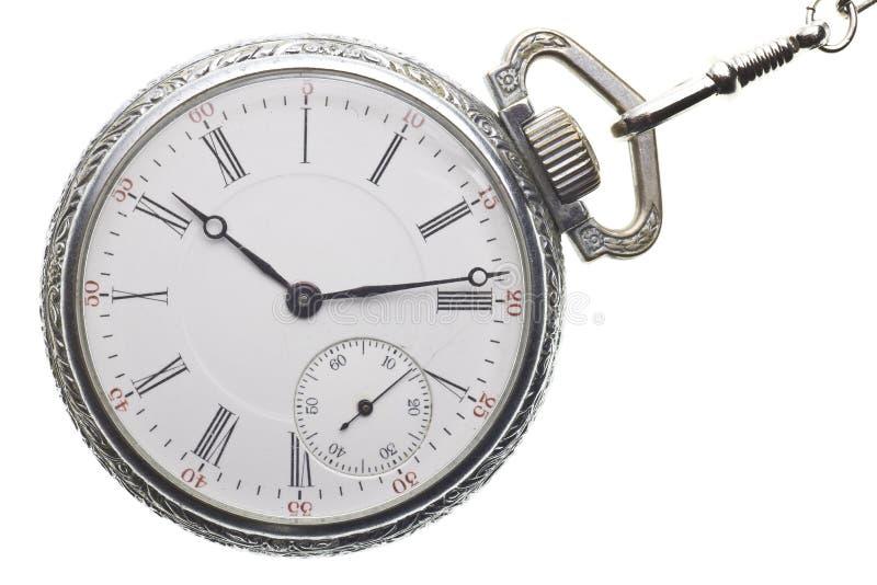 Reloj de bolsillo antiguo aislado en el fondo blanco imagen de archivo libre de regalías