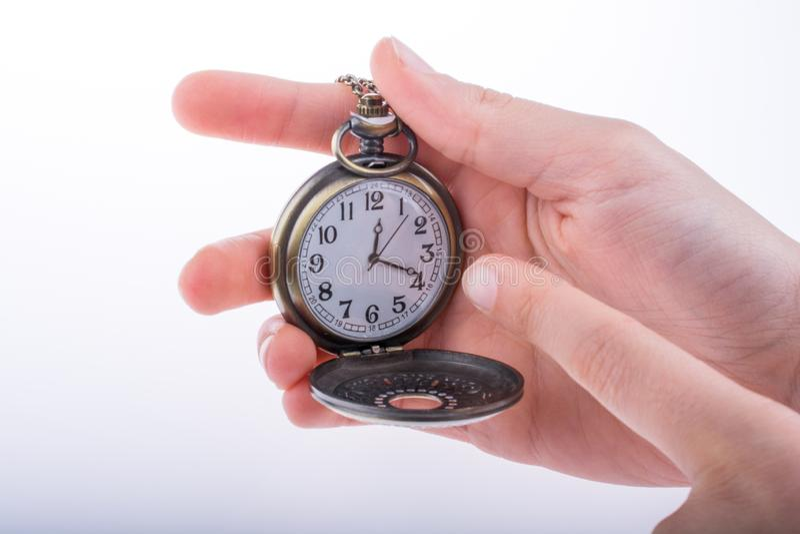 Reloj de bolsillo disponible imagen de archivo