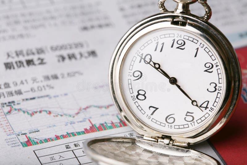 Reloj de bolsillo en el periódico sobre finanzas imagenes de archivo