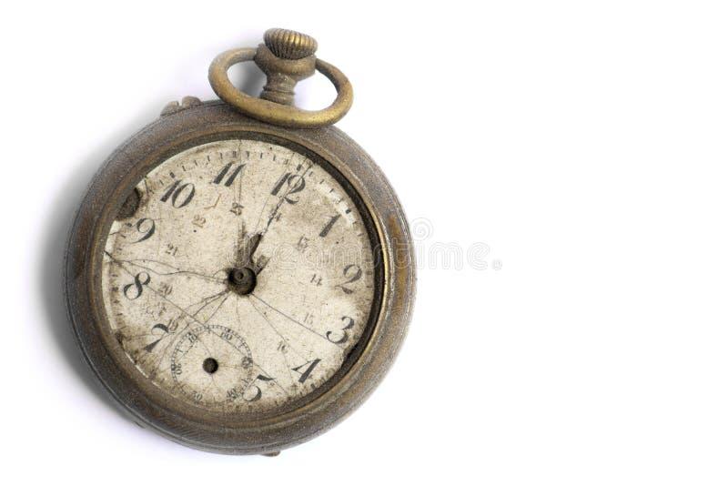 Reloj de bolsillo quebrado del vintage fotografía de archivo libre de regalías