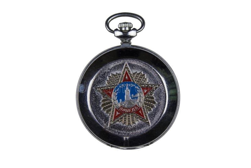 Reloj de bolsillo soviético en el fondo blanco imagenes de archivo