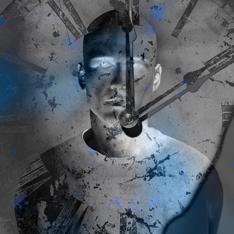 Reloj de Grunge sobre hombre ilustración del vector