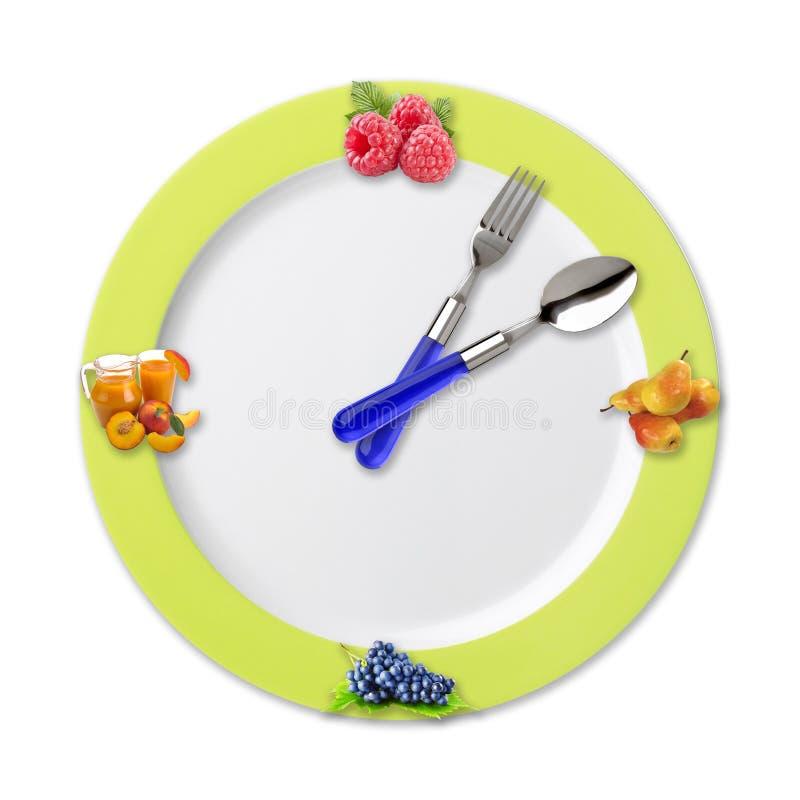 Reloj de la cocina con la fruta imágenes de archivo libres de regalías