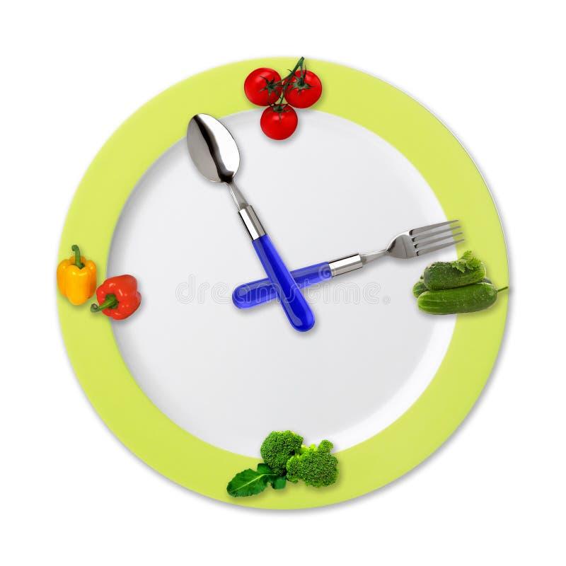 Reloj de la cocina con las verduras foto de archivo