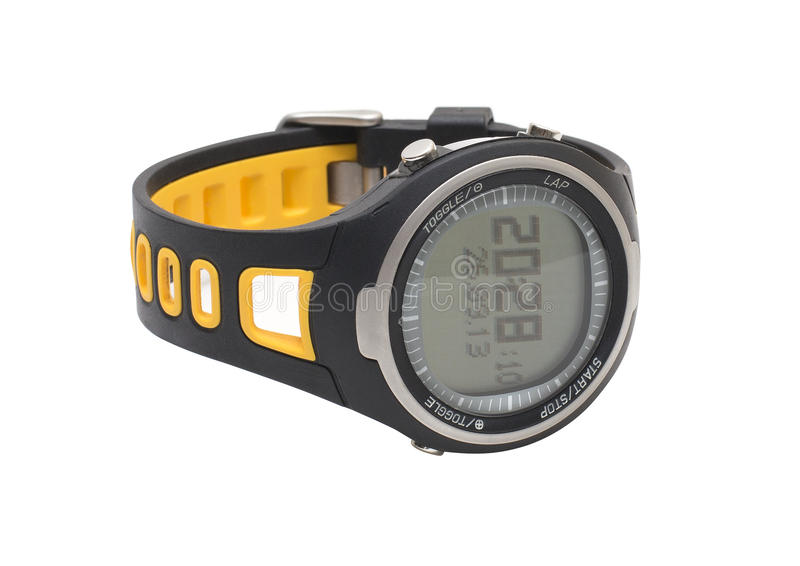 Reloj de la mano del deporte del pulsómetro aislado en blanco imágenes de archivo libres de regalías