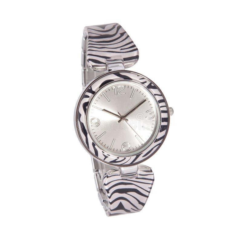 Reloj de la mujer de la cebra fotografía de archivo