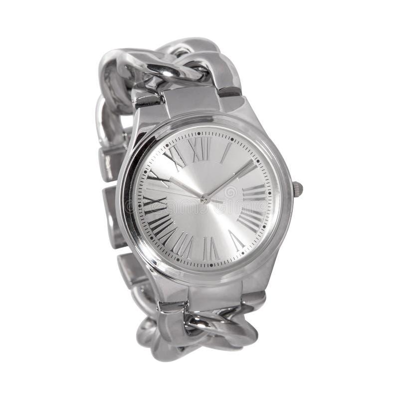 Reloj de la plata de la mujer foto de archivo