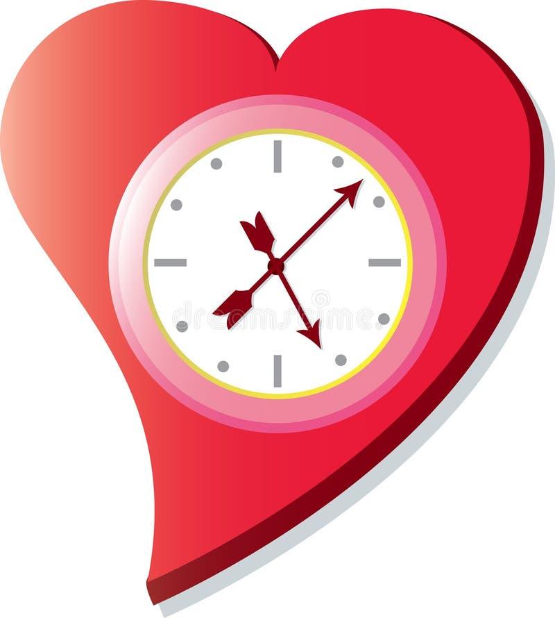 Reloj de la tarjeta del día de San Valentín stock de ilustración
