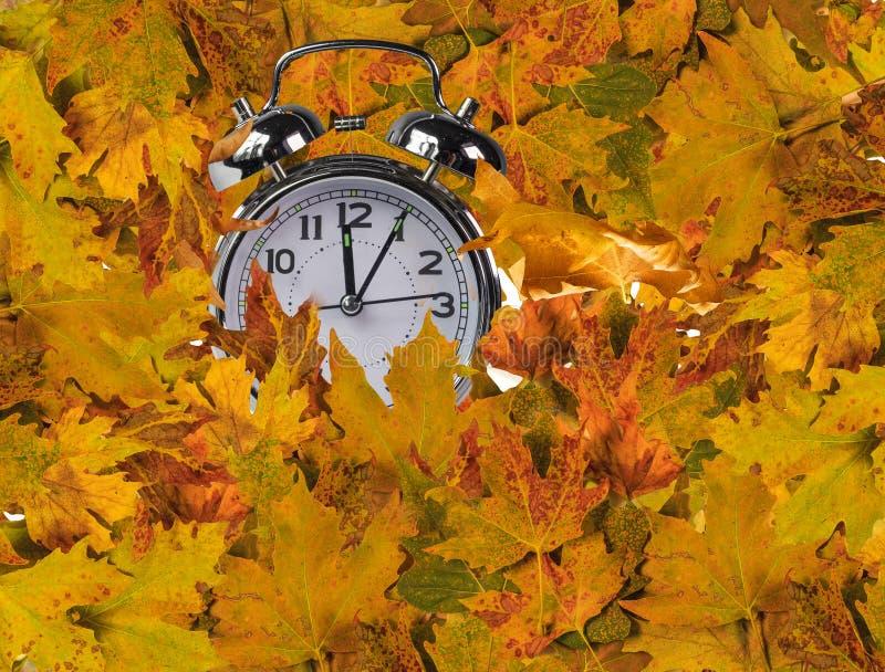 Reloj de las hojas de otoño para el fondo del mercado imagen de archivo