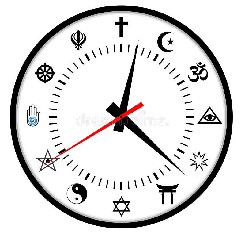 Reloj de las religiones ilustración del vector
