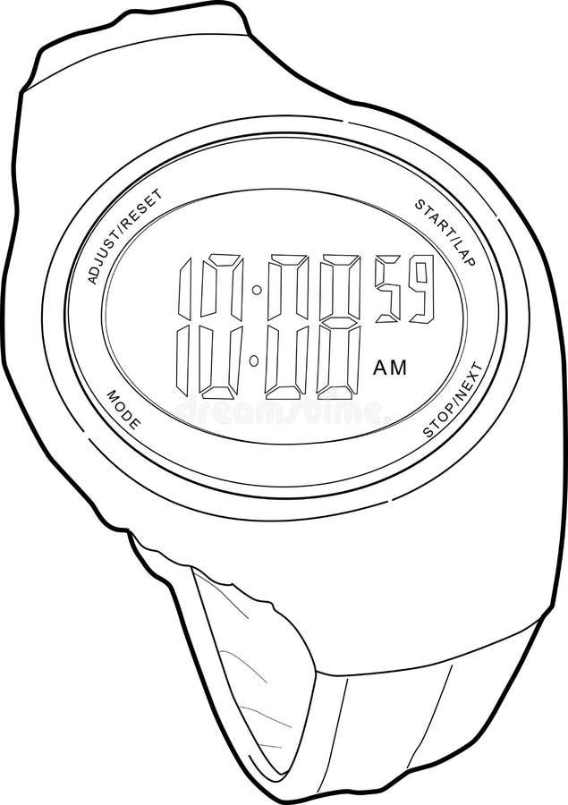 Download Reloj De Los Deportes De Digitaces Ilustración del Vector - Ilustración de correa, marco: 7280589