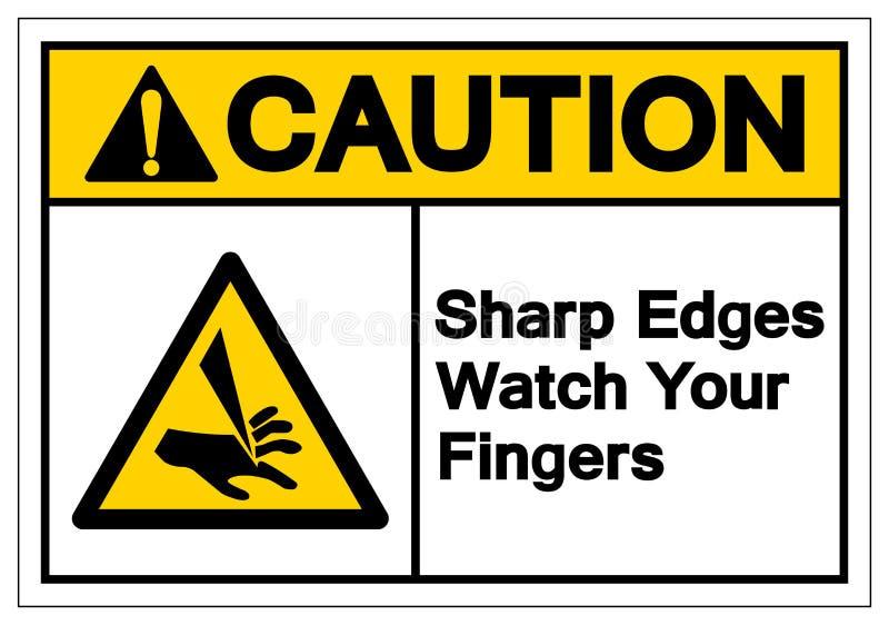 Reloj de los filos de la precaución su muestra del símbolo de los fingeres, ejemplo del vector, aislante en la etiqueta blanca de imágenes de archivo libres de regalías