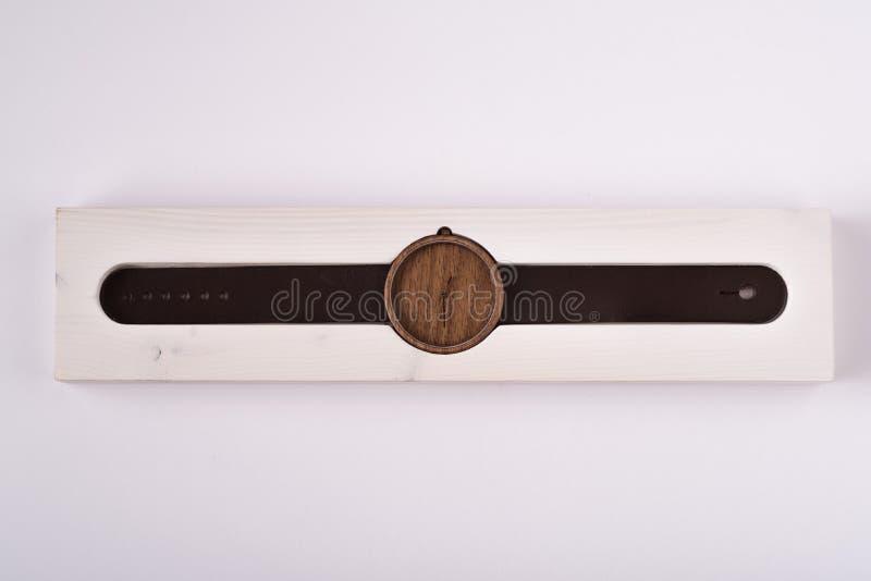 Reloj de madera foto de archivo