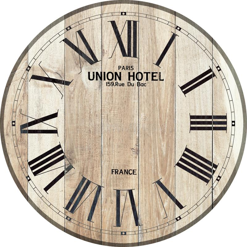 Reloj de madera del reloj de la unión del reloj de madera del hotel stock de ilustración