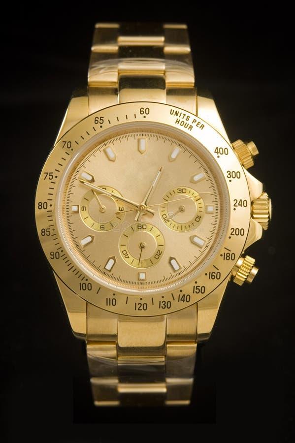 Reloj de oro de lujo imágenes de archivo libres de regalías