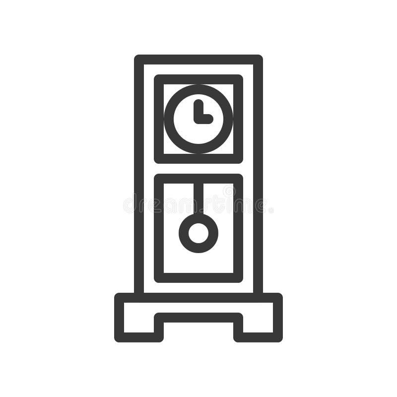 Reloj de péndulo, strok editable del icono del pixel del diseño perfecto del esquema stock de ilustración