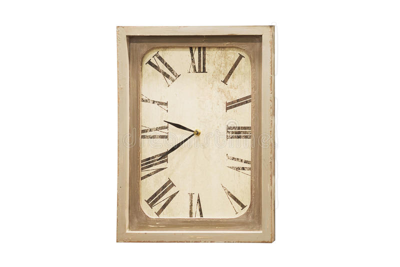 Reloj de pared antiguo viejo aislado en blanco foto de archivo