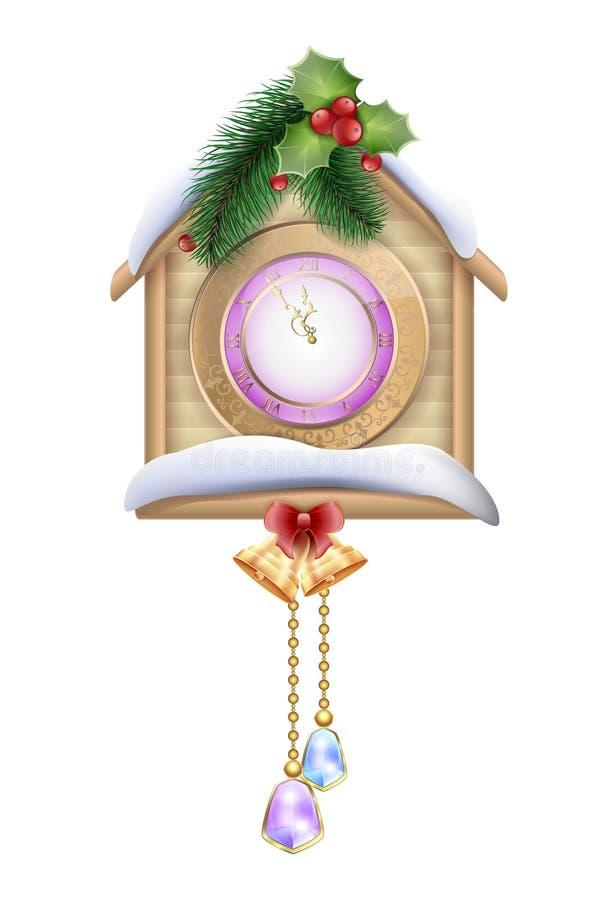 Reloj de pared de madera del Año Nuevo con una casa en los árboles de navidad y las campanas de la nieve stock de ilustración