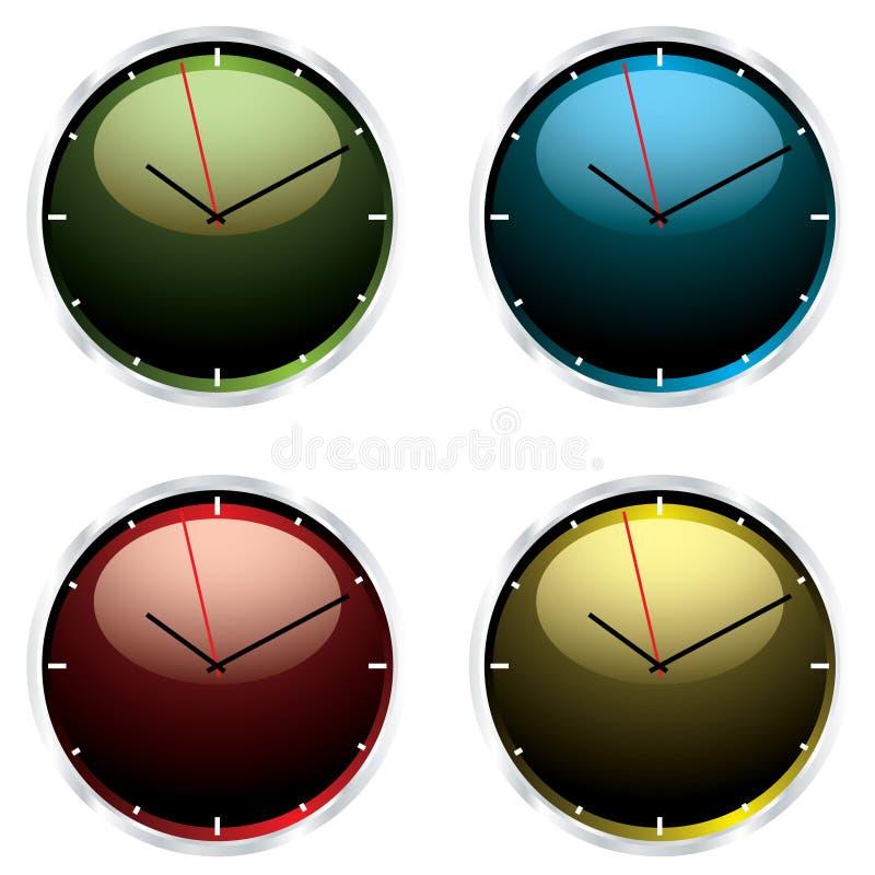 Reloj de pared moderno de las variaciones ilustración del vector