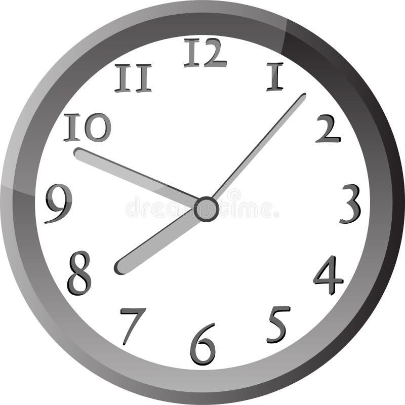 Reloj De Pared Moderno En El Marco De Plata Del Color Ilustración ...