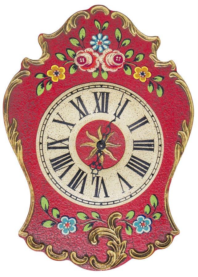 Reloj de pared pintado a mano viejo aislado en blanco imagen de archivo libre de regalías