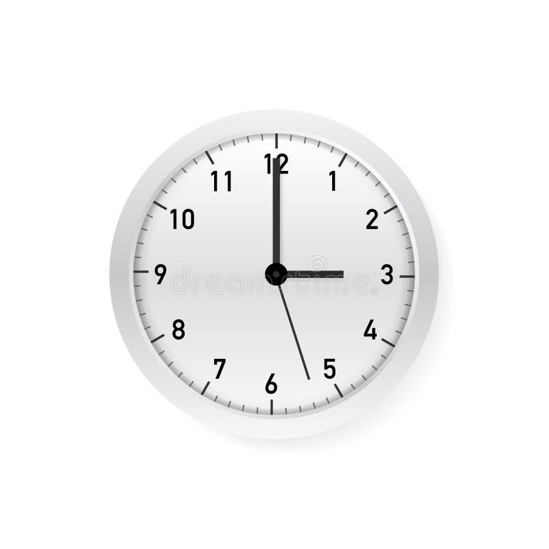 Reloj de pared redondo blanco del vector y blanco clásico simple Ilustraci?n del vector libre illustration