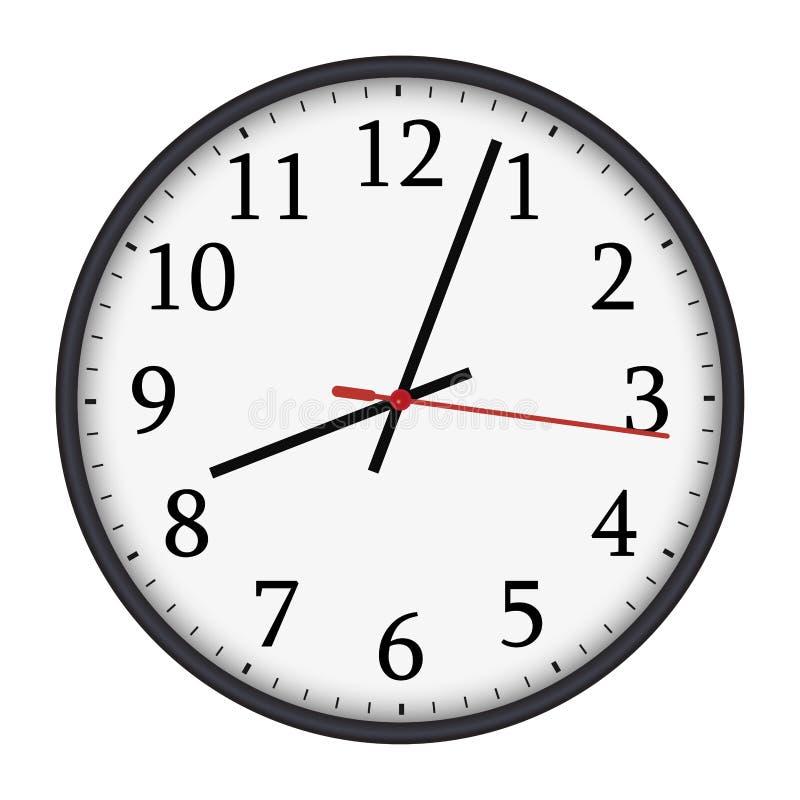 Reloj de pared redondo blanco y negro clásico en el fondo blanco stock de ilustración