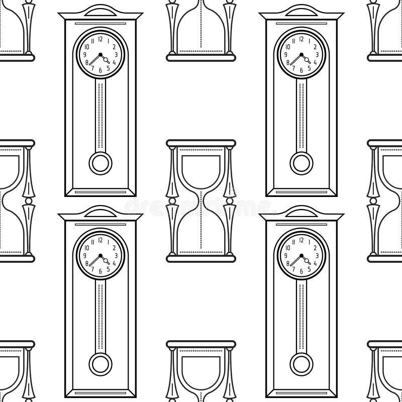 Reloj De Pie Y Reloj De Arena Modelo Inconsútil Blanco Y Negro Para ...
