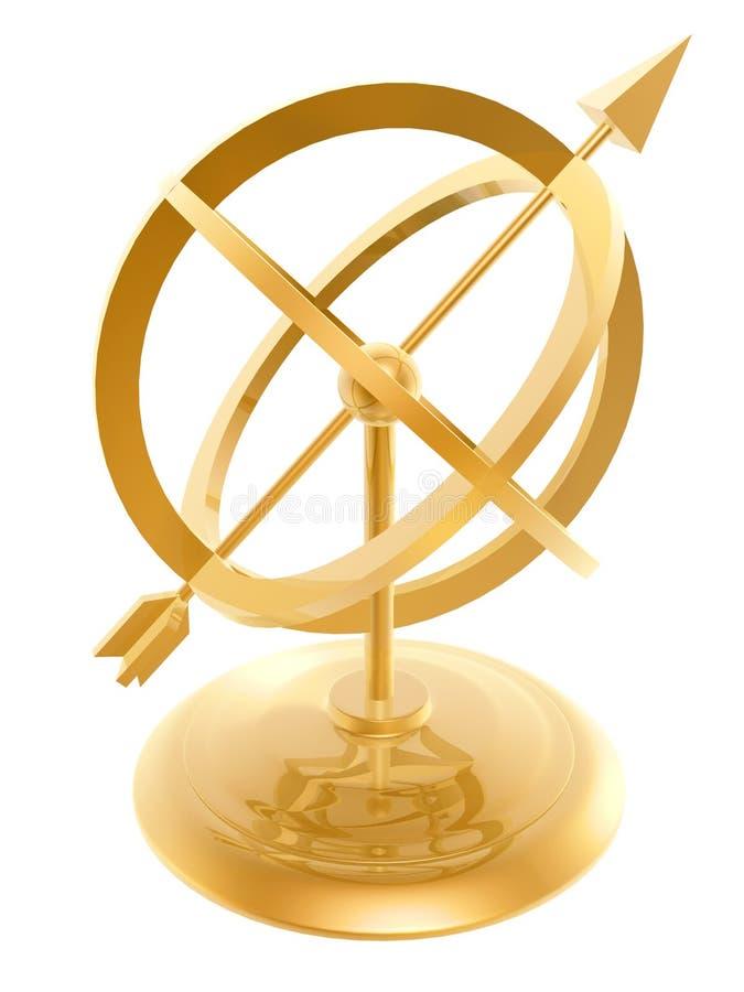 Reloj de sol de oro ilustración del vector