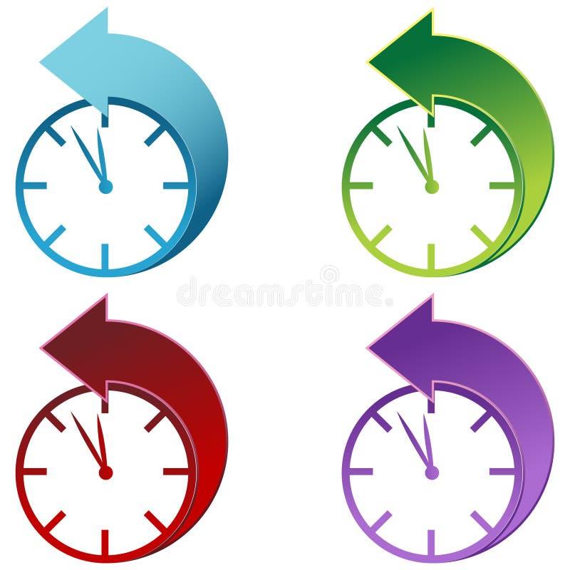 Reloj de tiempo de los ahorros de hora solar ilustración del vector