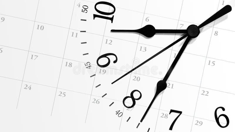 Reloj de tiempo que hace tictac con el calendario fotos de archivo libres de regalías