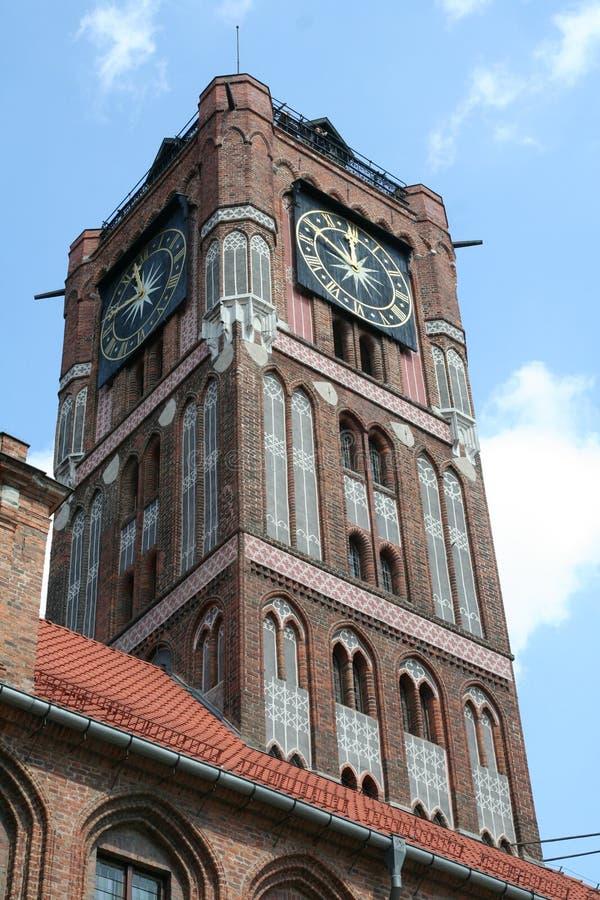 Reloj de Torun Town Hall fotografía de archivo libre de regalías