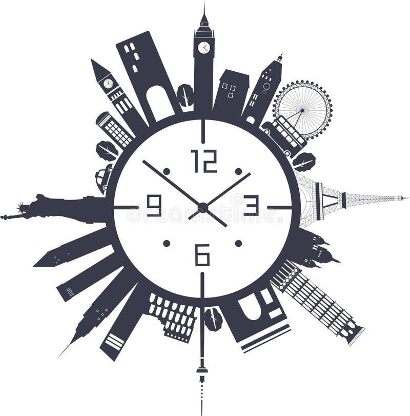 Reloj de viaje en blanco y negro libre illustration