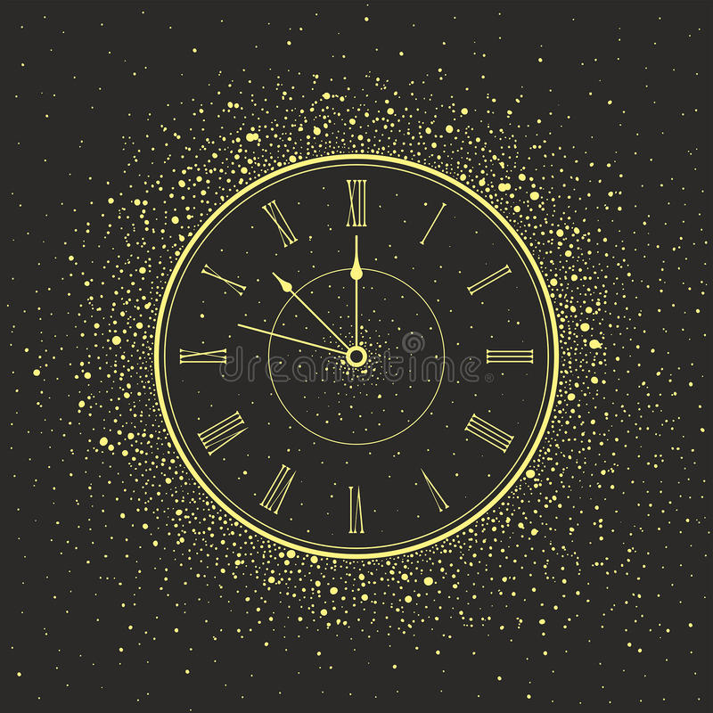 Reloj del Año Nuevo stock de ilustración