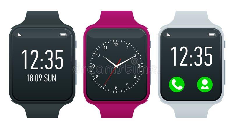 Reloj del atleta o pulsera elegante de la aptitud Reloj elegante aislado en blanco Smartwatch reflejó en la superficie blanca Rel stock de ilustración