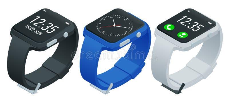 Reloj del atleta o pulsera elegante de la aptitud Reloj elegante isométrico aislado en blanco Smartwatch reflejó en la superficie libre illustration