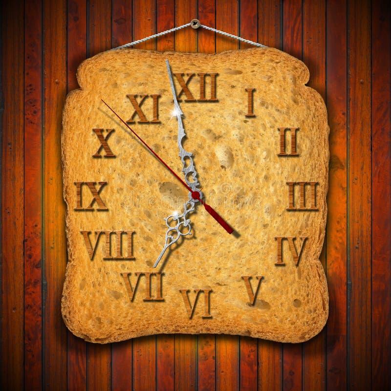 Reloj del bizcocho tostado - concepto del desayuno stock de ilustración