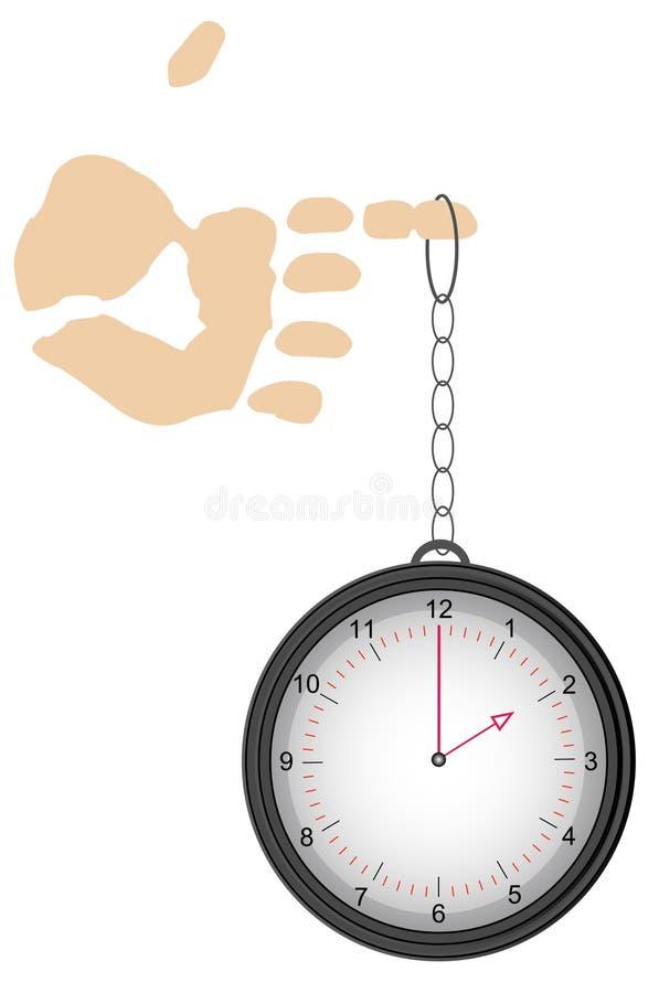 Reloj del bolsillo en el dedo ilustración del vector