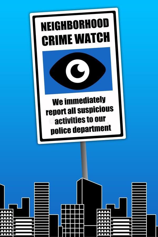 Reloj del crimen de la vecindad stock de ilustración