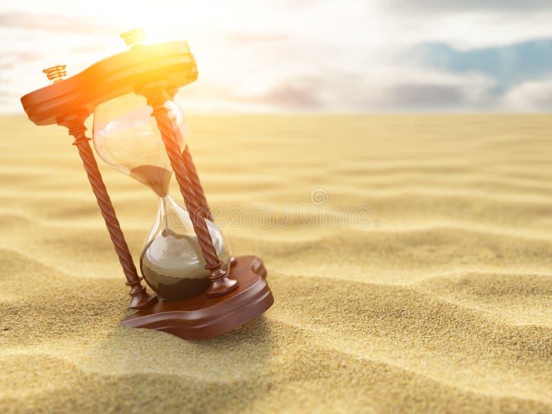 Reloj del reloj de arena en la arena del fondo del desierto stock de ilustración