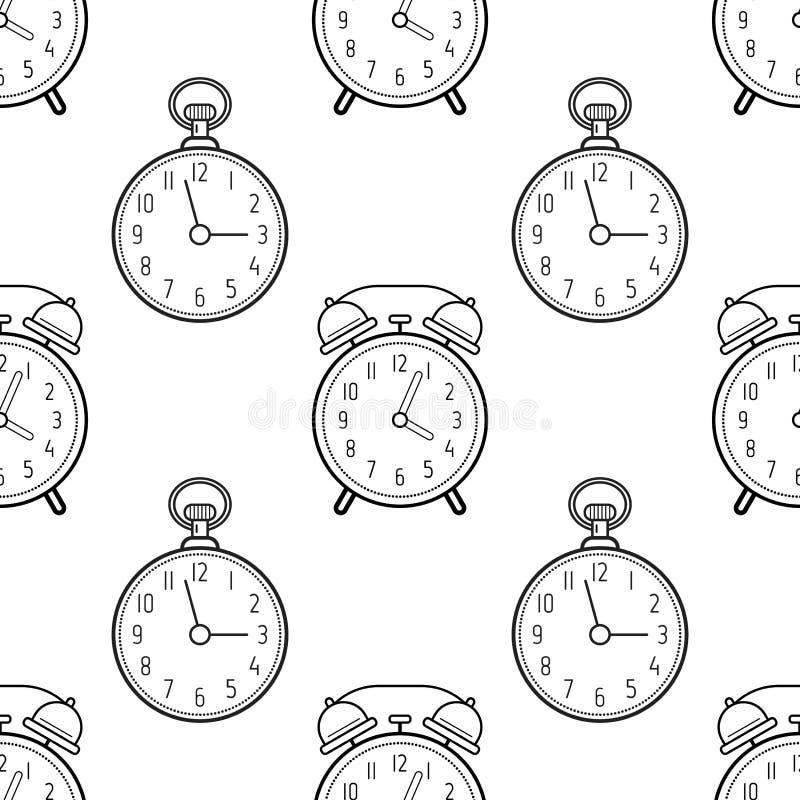 Reloj Del Despertador Y De Bolsillo Modelo Inconsútil Blanco Y Negro ...