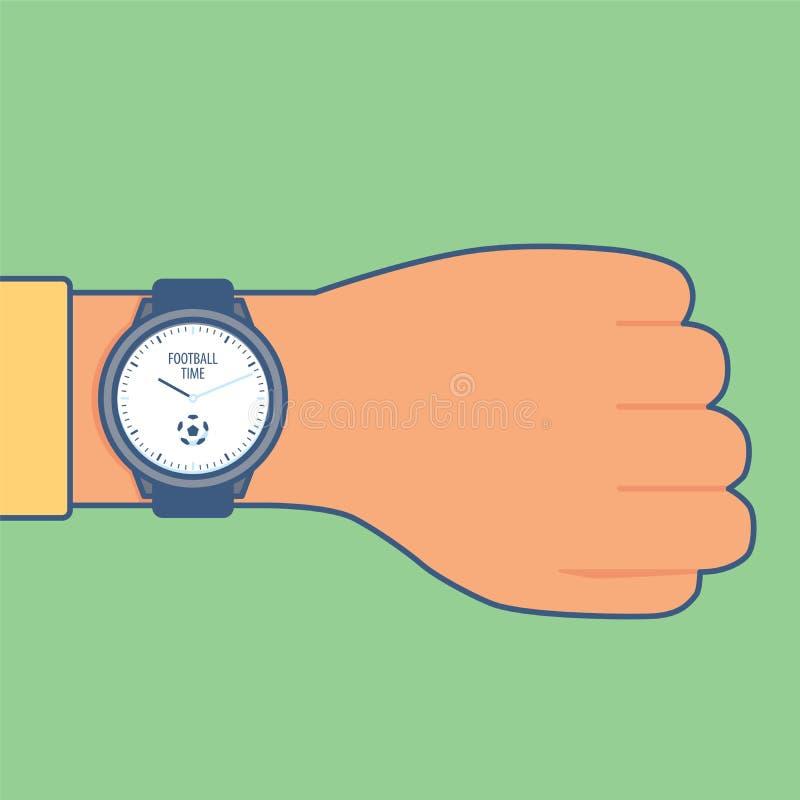 Reloj del fútbol/del fútbol La cara de reloj con el fútbol del ` de la bola y de la inscripción mide el tiempo de ` ilustración del vector