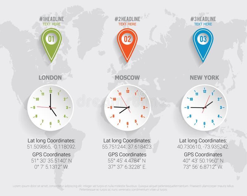 Reloj del mapa del mundo con los coordenadas de GPS, de la latitud y de la longitud Ejemplo del vector con los pernos y las sombr stock de ilustración