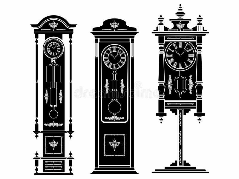 Reloj del piso coloreado Terraplén negro ilustración del vector