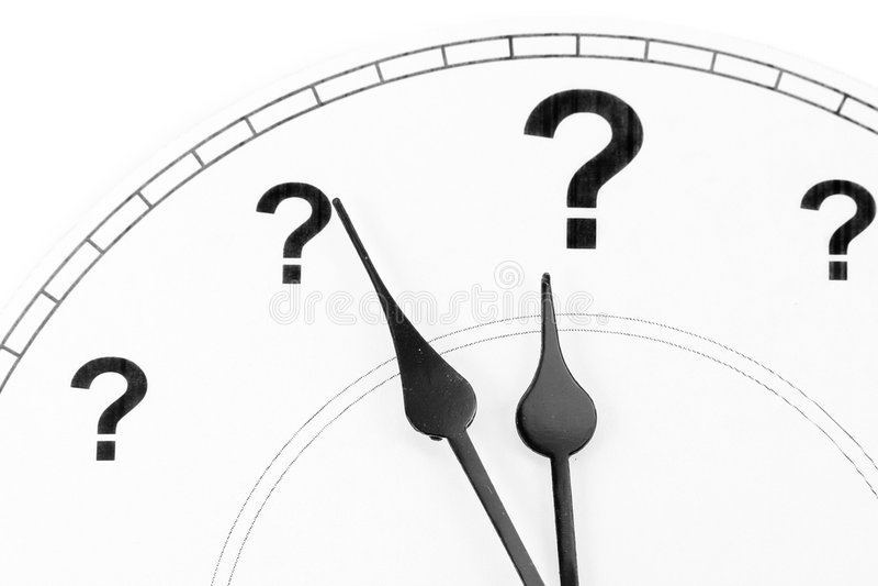 Reloj del signo de interrogación fotografía de archivo libre de regalías