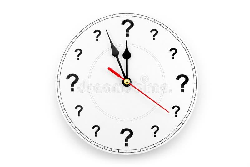 Reloj del signo de interrogación imagen de archivo