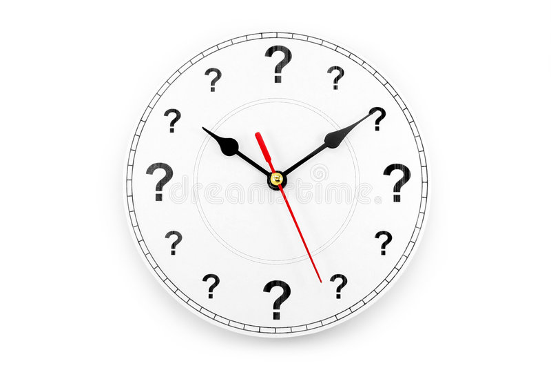 Reloj del signo de interrogación fotos de archivo libres de regalías