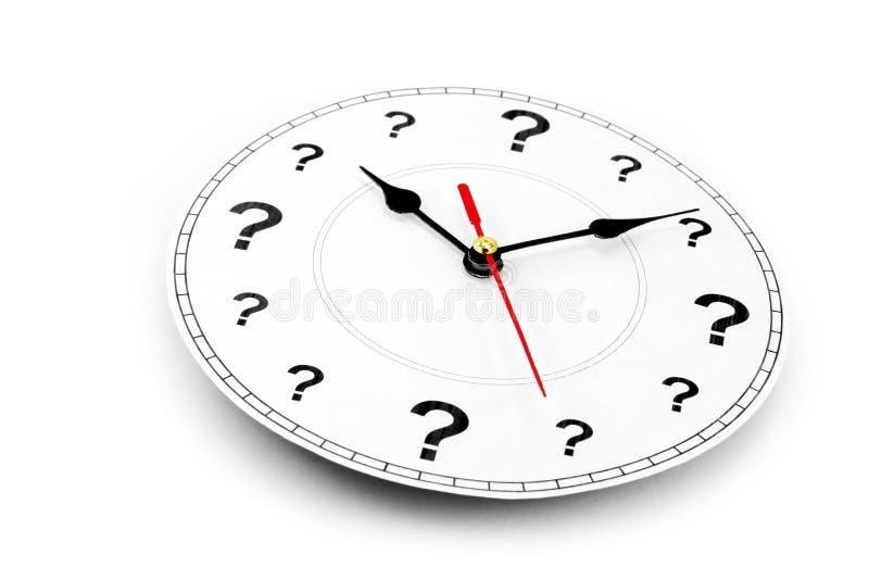 Reloj del signo de interrogación imagenes de archivo